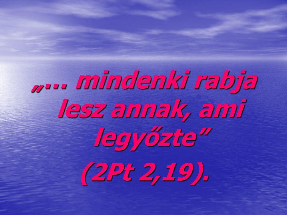 """""""… mindenki rabja lesz annak, ami legyőzte"""" (2Pt 2,19)."""