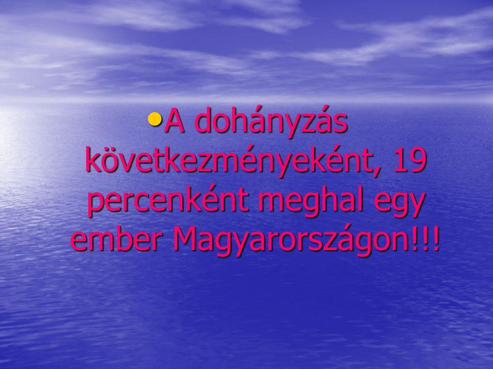 • A dohányzás következményeként, 19 percenként meghal egy ember Magyarországon!!!
