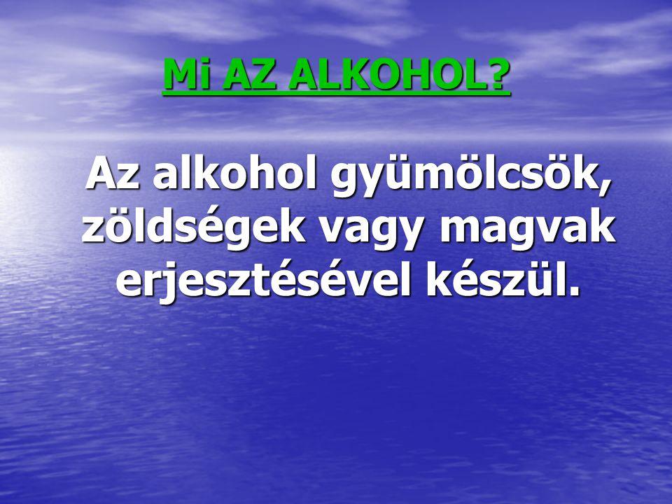 Mi AZ ALKOHOL? Az alkohol gyümölcsök, zöldségek vagy magvak erjesztésével készül. Az alkohol gyümölcsök, zöldségek vagy magvak erjesztésével készül.