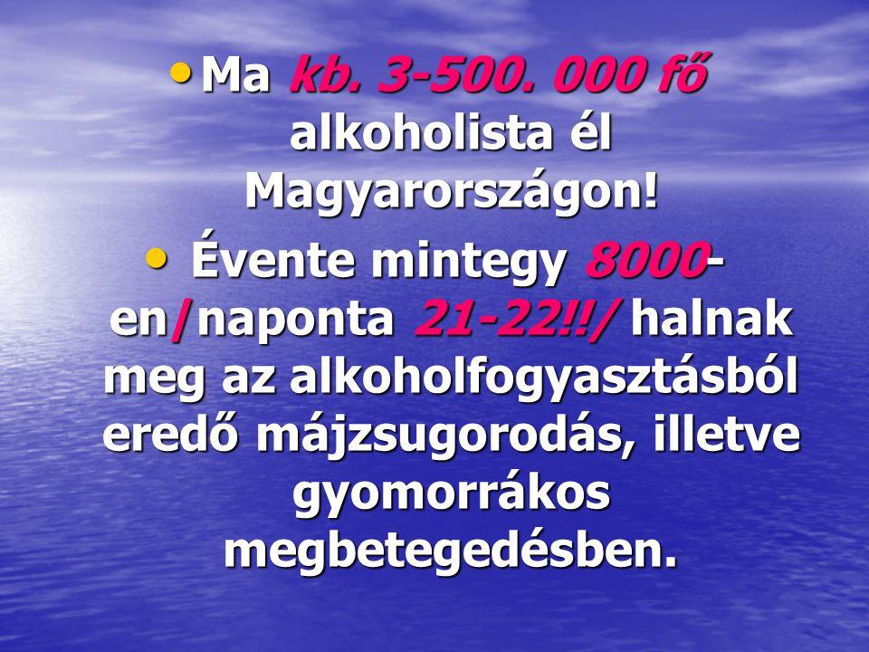• Ma kb. 3-500. 000 fő alkoholista él Magyarországon! • Évente mintegy 8000- en/naponta 21-22!!/ halnak meg az alkoholfogyasztásból eredő májzsugorodá