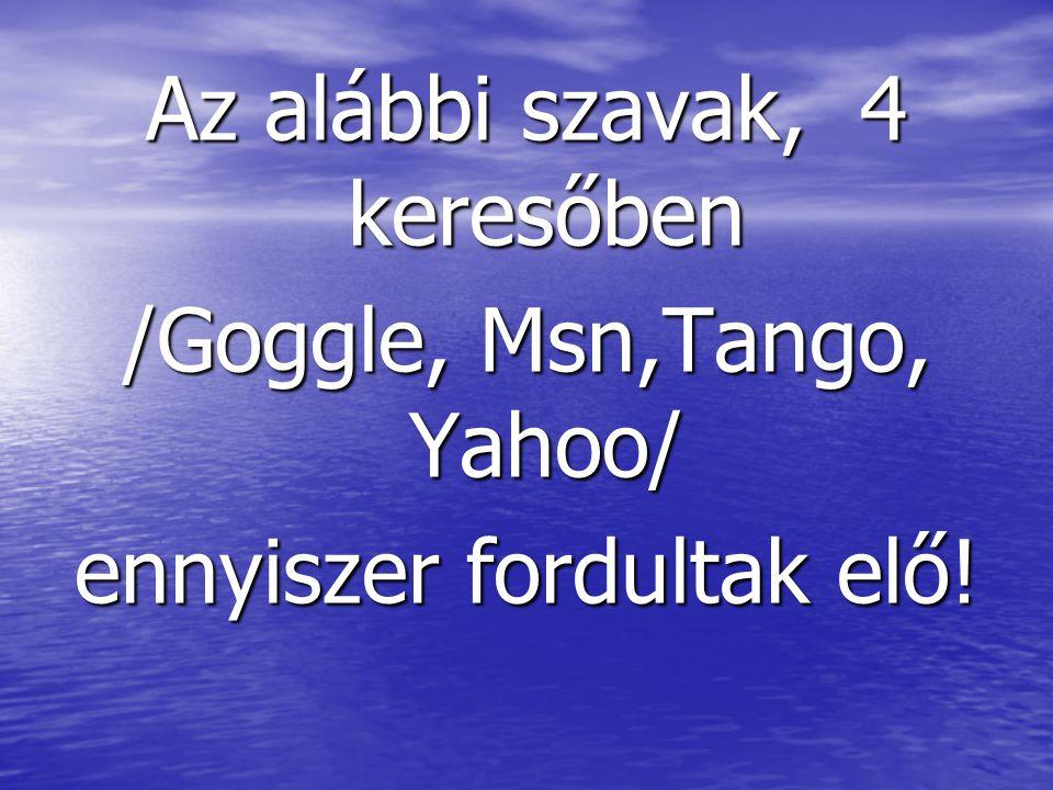 Az alábbi szavak, 4 keresőben /Goggle, Msn,Tango, Yahoo/ ennyiszer fordultak elő!