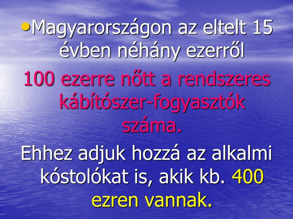• Magyarországon az eltelt 15 évben néhány ezerről 100 ezerre nőtt a rendszeres kábítószer-fogyasztók száma. Ehhez adjuk hozzá az alkalmi kóstolókat i