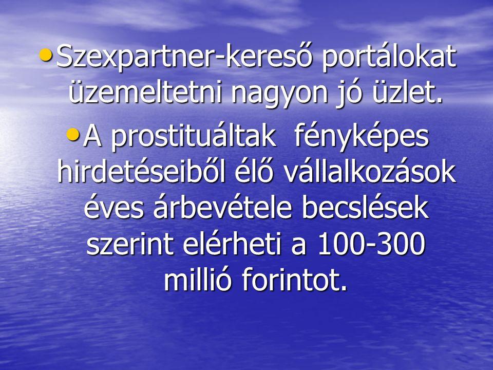 • Szexpartner-kereső portálokat üzemeltetni nagyon jó üzlet. • A prostituáltak fényképes hirdetéseiből élő vállalkozások éves árbevétele becslések sze