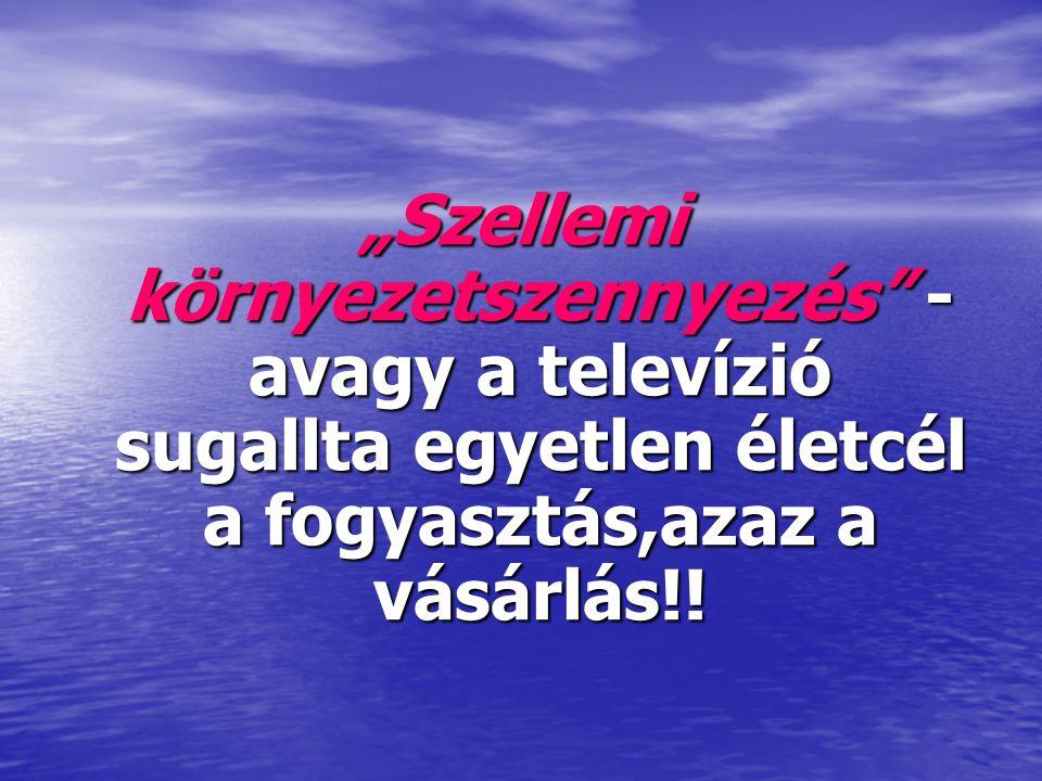 """""""Szellemi környezetszennyezés"""" - avagy a televízió sugallta egyetlen életcél a fogyasztás,azaz a vásárlás!!"""
