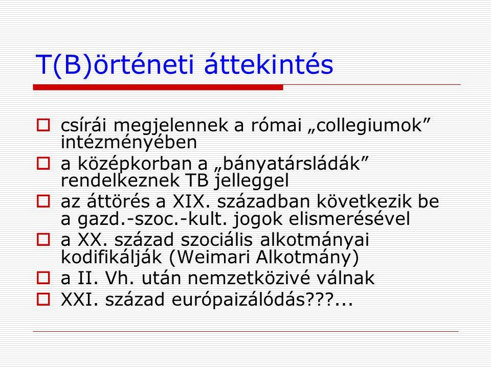 """T(B)örténeti áttekintés  csírái megjelennek a római """"collegiumok"""" intézményében  a középkorban a """"bányatársládák"""" rendelkeznek TB jelleggel  az átt"""
