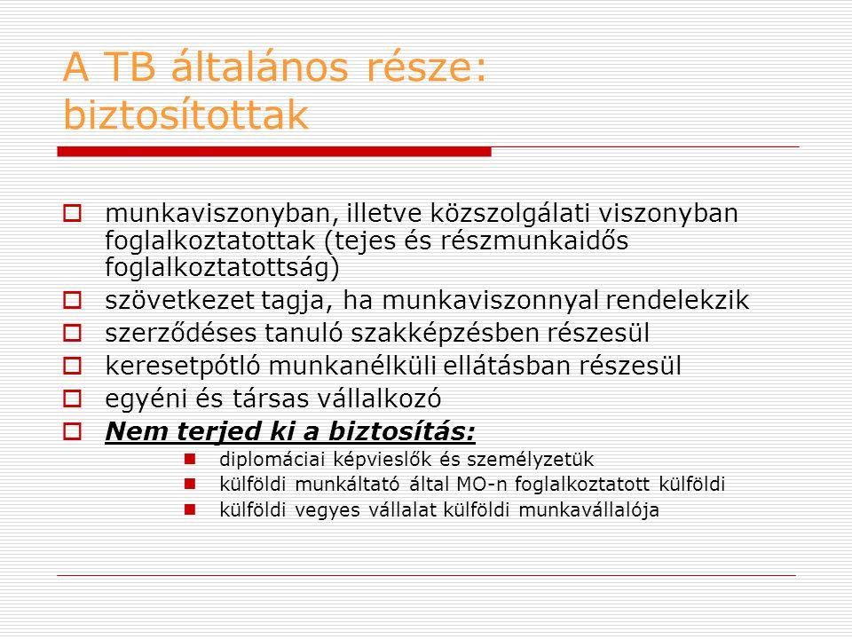 A TB általános része: biztosítottak  munkaviszonyban, illetve közszolgálati viszonyban foglalkoztatottak (tejes és részmunkaidős foglalkoztatottság)