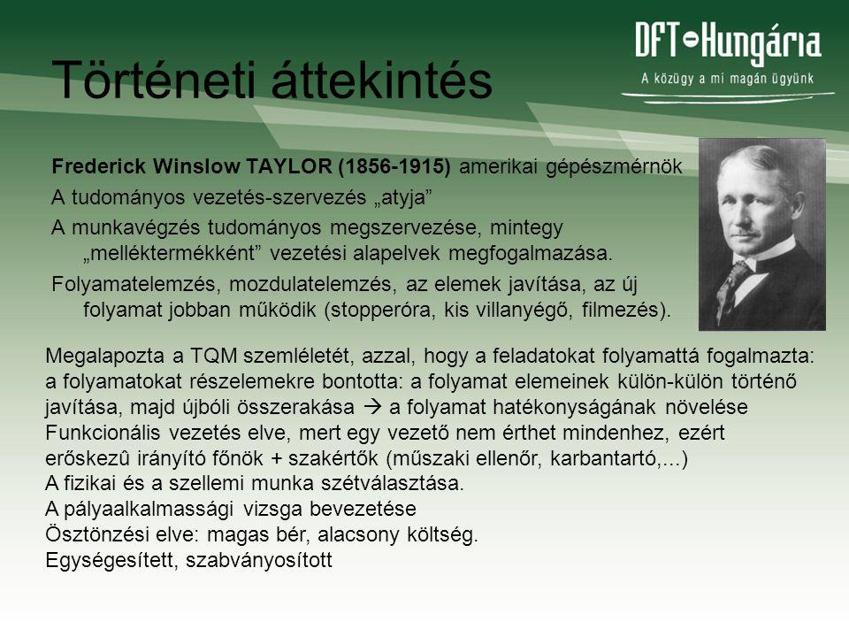 """Történeti áttekintés Frederick Winslow TAYLOR (1856-1915) amerikai gépészmérnök A tudományos vezetés-szervezés """"atyja"""" A munkavégzés tudományos megsze"""