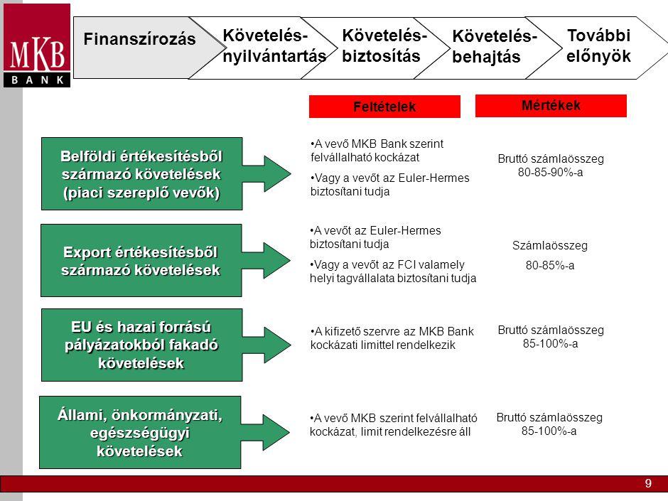 9 Finanszírozás Követelés- nyilvántartás Követelés- biztosítás Követelés- behajtás További előnyök Belföldi értékesítésből származó követelések (piaci