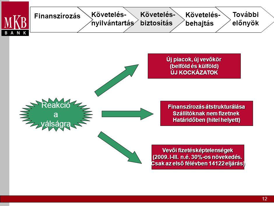 12 Finanszírozás Követelés- nyilvántartás Követelés- biztosítás Követelés- behajtás További előnyök Reakció a válságra Új piacok, új vevőkör (belföld és külföld) ÚJ KOCKÁZATOK Finanszírozás átstrukturálása Szállítóknak nem fizetnek Határidőben (hitel helyett) Vevői fizetésképtelenségek (2009.