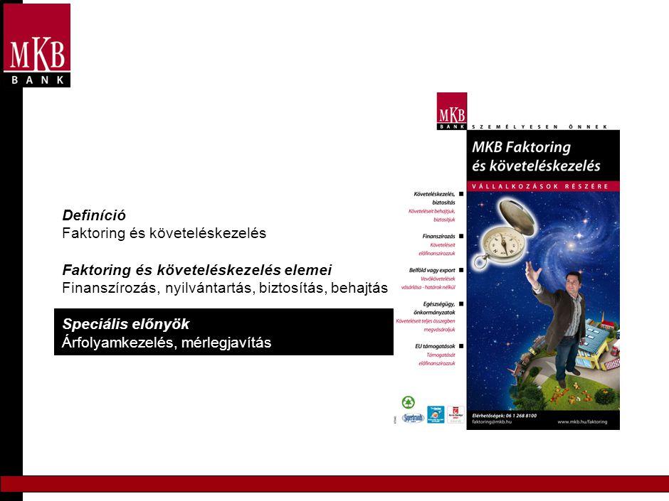 Definíció Faktoring és követeléskezelés Faktoring és követeléskezelés elemei Finanszírozás, nyilvántartás, biztosítás, behajtás Speciális előnyök Árfo