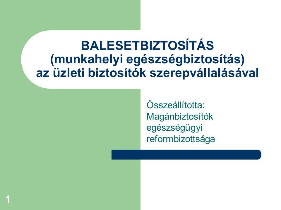 1 BALESETBIZTOSÍTÁS (munkahelyi egészségbiztosítás) az üzleti biztosítók szerepvállalásával Összeállította: Magánbiztosítók egészségügyi reformbizottsága