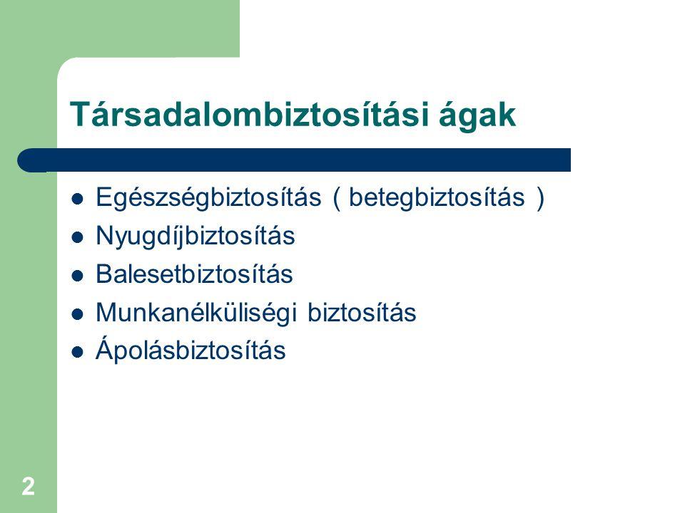 3 TB rendszer Magyarországon  Egészségbiztosítás  Nyugdíjbiztosítás  Kialakulatlan, hiányos, továbbfejlesztés szükséges  A koncepció és a fogalmak tisztázása szükséges  A szabályozást egyértelművé kell tenni  Működési feltételek stabilizálandók  Pénzügyi, finanszírozási kérdések megoldása