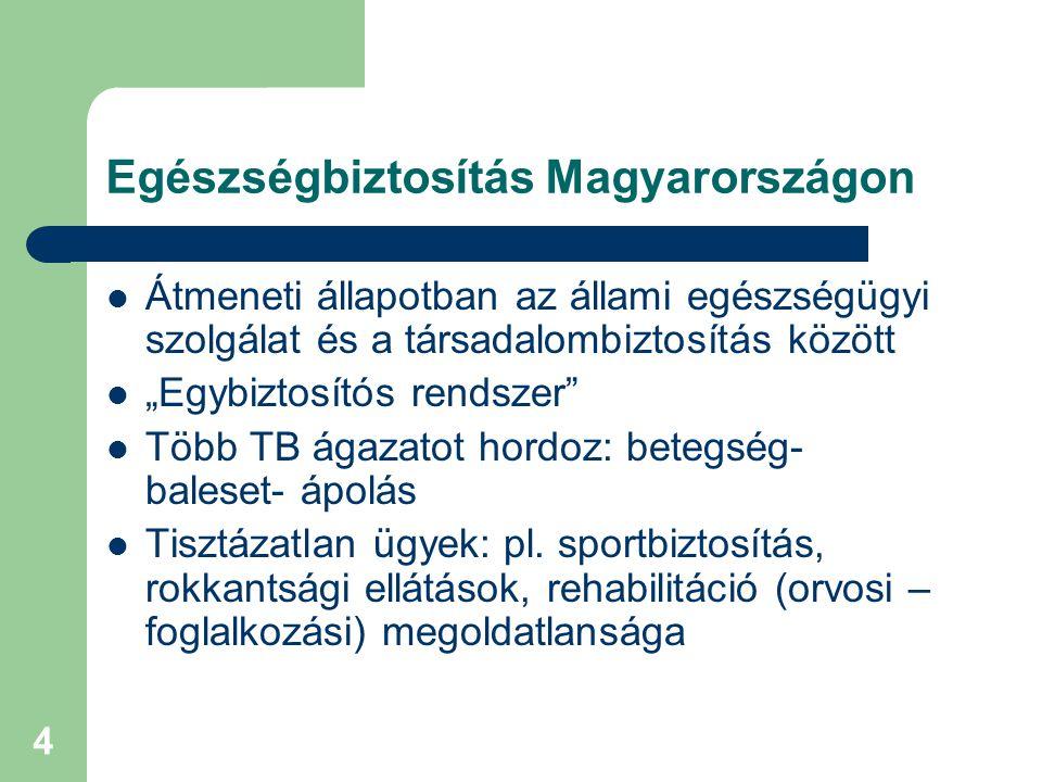 """4 Egészségbiztosítás Magyarországon  Átmeneti állapotban az állami egészségügyi szolgálat és a társadalombiztosítás között  """"Egybiztosítós rendszer  Több TB ágazatot hordoz: betegség- baleset- ápolás  Tisztázatlan ügyek: pl."""