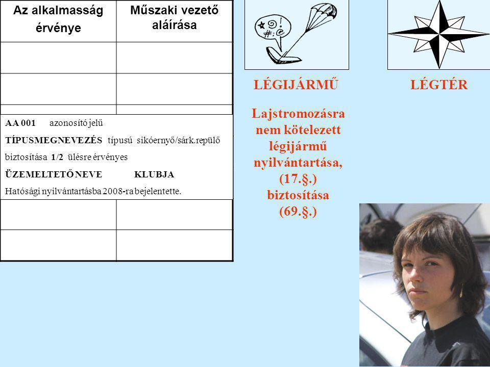 PILÓTALÉGIJÁRMŰLÉGTÉR TV. a légiközlekedésről (XCVII./95.) Lajstromozásra nem kötelezett légijármű nyilvántartása, (17.§.) biztosítása (69.§.) Az alka
