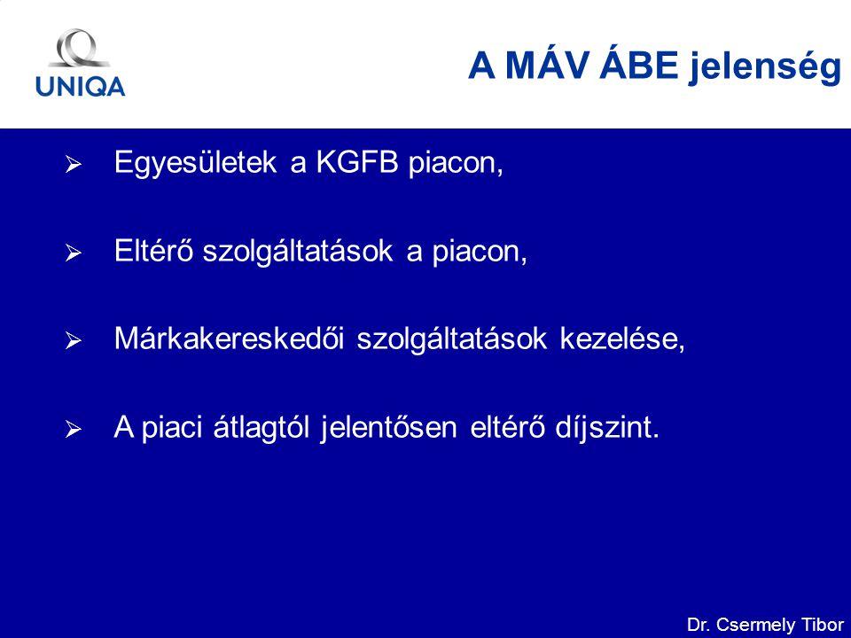 Dr. Csermely Tibor A MÁV ÁBE jelenség  Egyesületek a KGFB piacon,  Eltérő szolgáltatások a piacon,  Márkakereskedői szolgáltatások kezelése,  A pi
