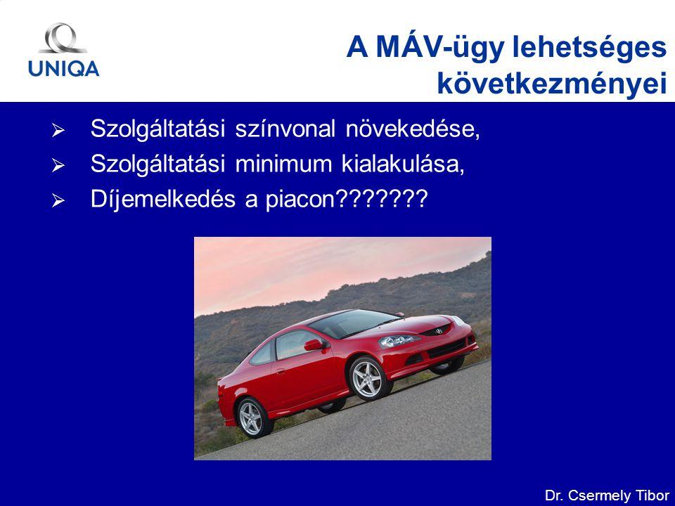 Dr. Csermely Tibor A MÁV-ügy lehetséges következményei  Szolgáltatási színvonal növekedése,  Szolgáltatási minimum kialakulása,  Díjemelkedés a pia