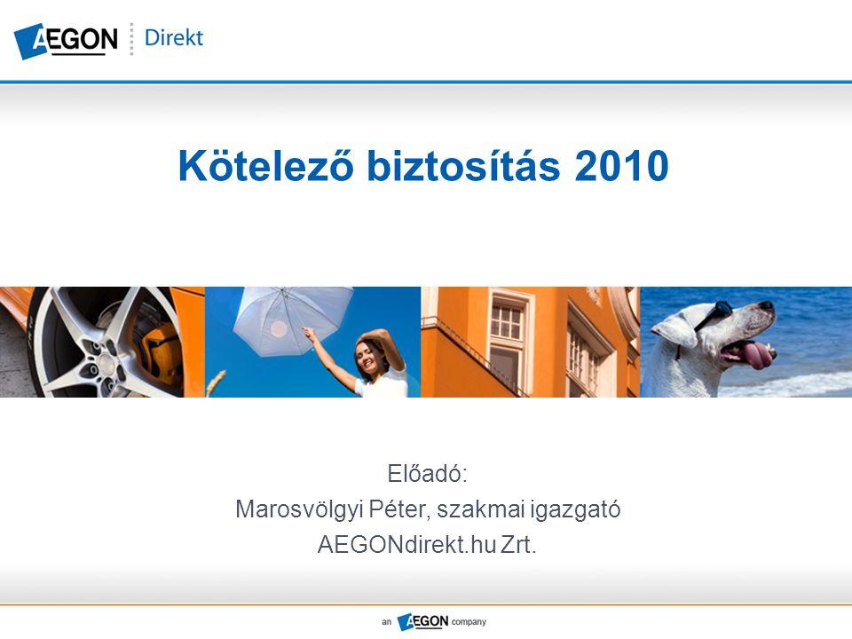 Kötelező biztosítás 2010 Előadó: Marosvölgyi Péter, szakmai igazgató AEGONdirekt.hu Zrt.