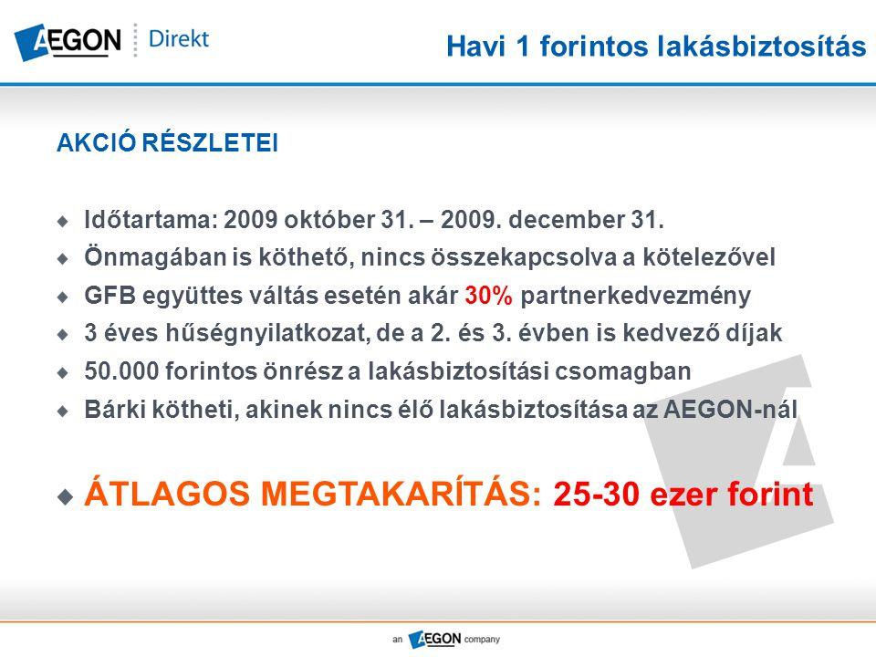 Havi 1 forintos lakásbiztosítás AKCIÓ RÉSZLETEI Időtartama: 2009 október 31. – 2009. december 31. Önmagában is köthető, nincs összekapcsolva a kötelez