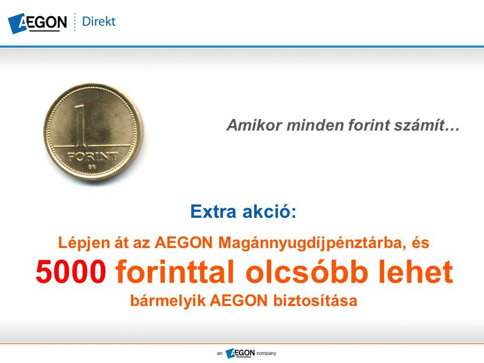 Amikor minden forint számít… Extra akció: Lépjen át az AEGON Magánnyugdíjpénztárba, és 5000 forinttal olcsóbb lehet bármelyik AEGON biztosítása