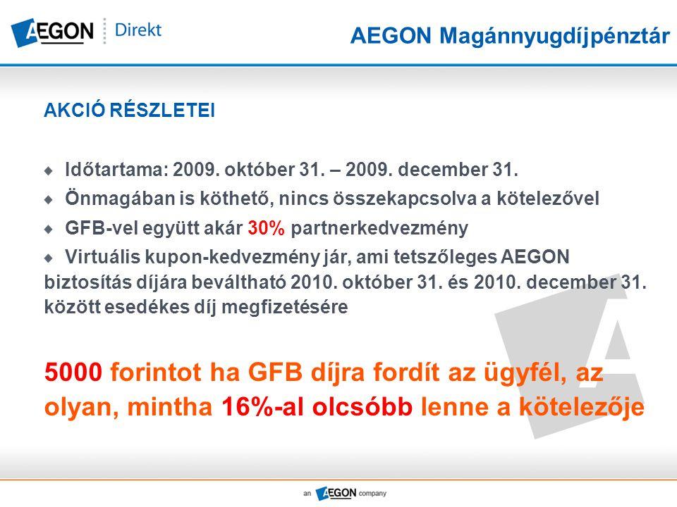 AEGON Magánnyugdíjpénztár AKCIÓ RÉSZLETEI Időtartama: 2009. október 31. – 2009. december 31. Önmagában is köthető, nincs összekapcsolva a kötelezővel