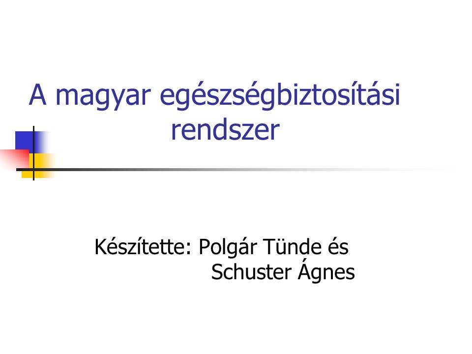 A magyar egészségbiztosítási rendszer Készítette: Polgár Tünde és Schuster Ágnes
