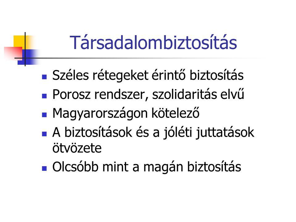 Társadalombiztosítás  Széles rétegeket érintő biztosítás  Porosz rendszer, szolidaritás elvű  Magyarországon kötelező  A biztosítások és a jóléti
