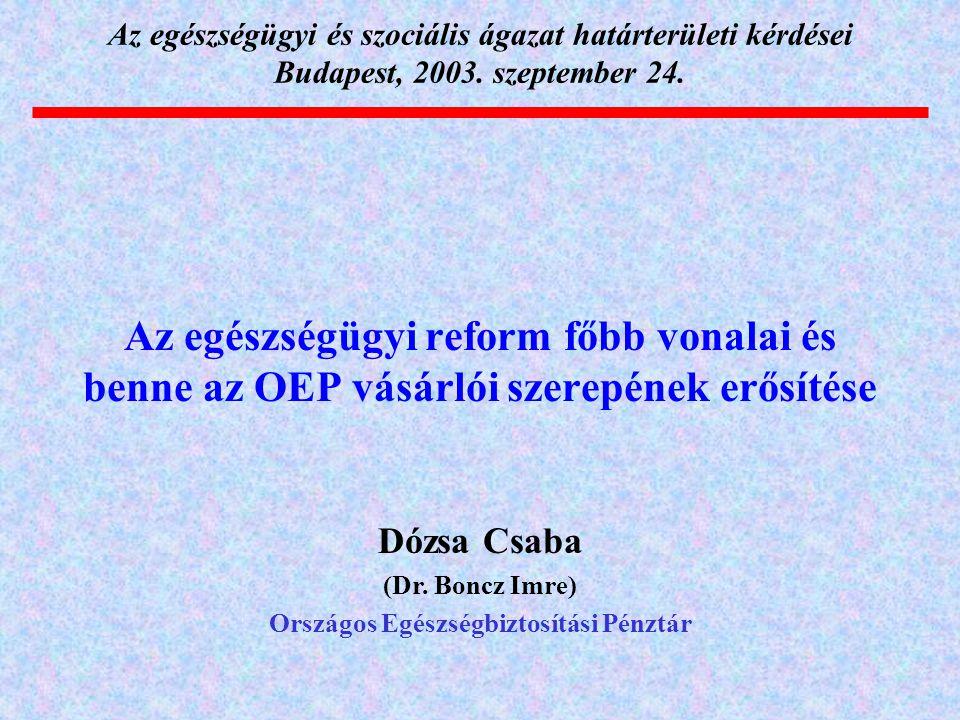 Az egészségügyi reform főbb vonalai és benne az OEP vásárlói szerepének erősítése Az egészségügyi és szociális ágazat határterületi kérdései Budapest,