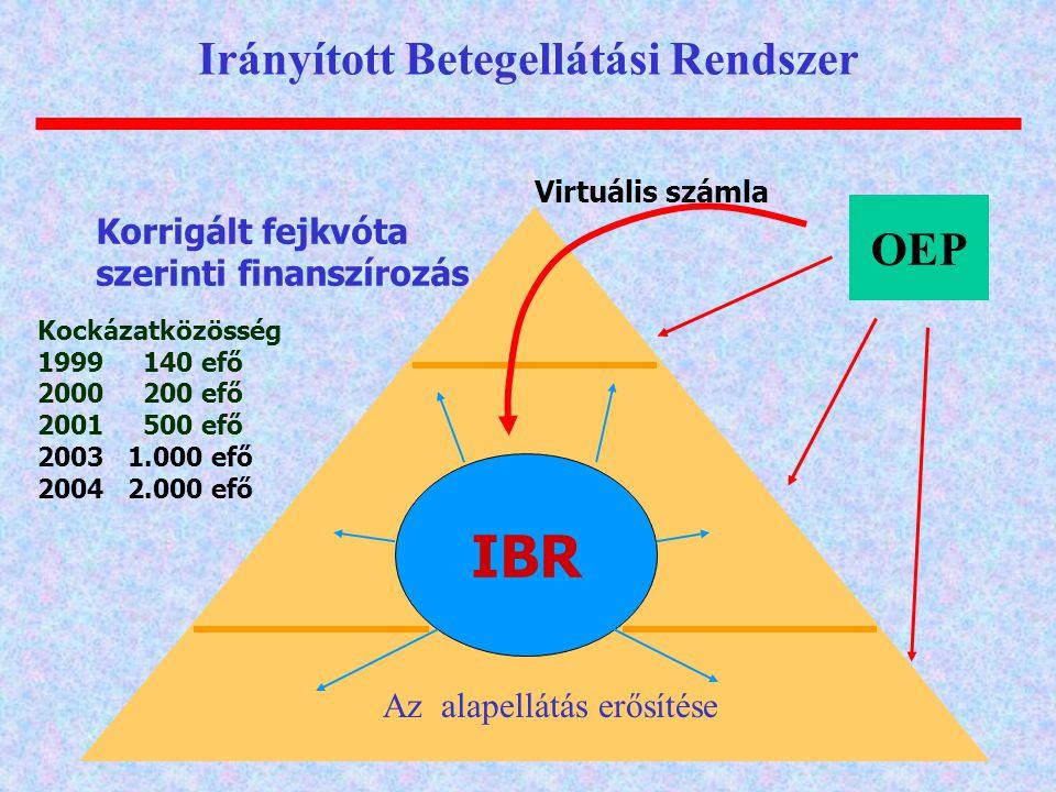 OEP Kockázatközösség 1999140 efő 2000200 efő 2001500 efő 2003 1.000 efő 2004 2.000 efő IBR Korrigált fejkvóta szerinti finanszírozás Virtuális számla