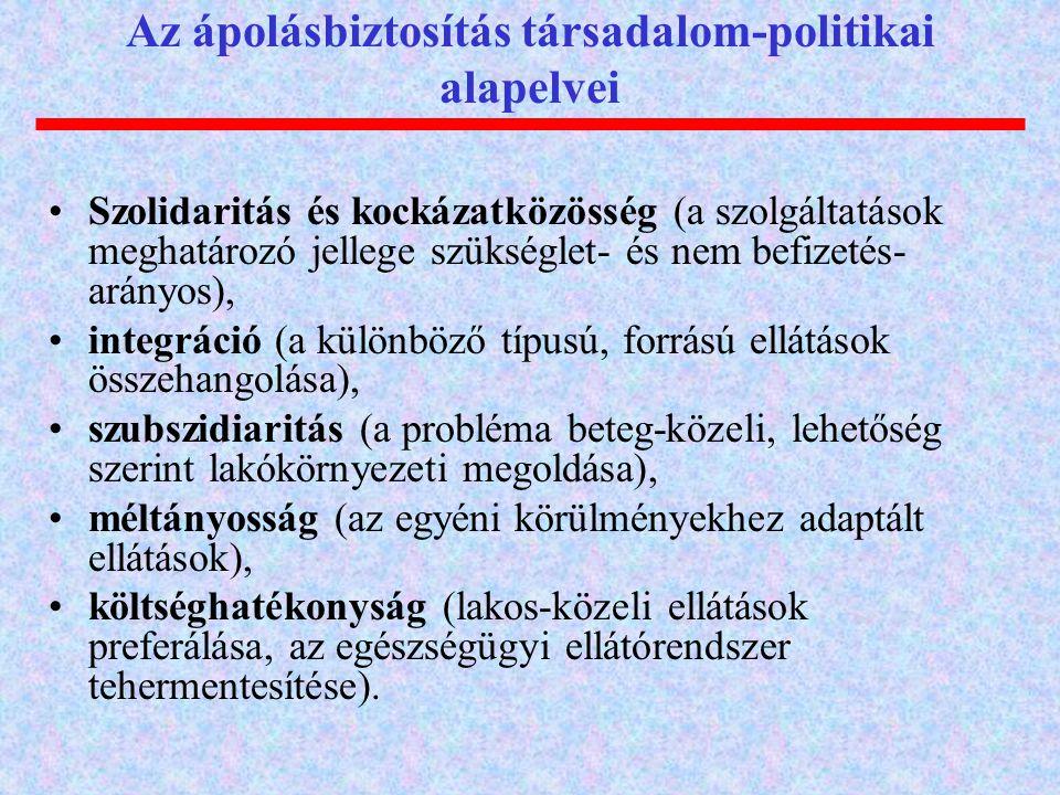 •Szolidaritás és kockázatközösség (a szolgáltatások meghatározó jellege szükséglet- és nem befizetés- arányos), •integráció (a különböző típusú, forrá