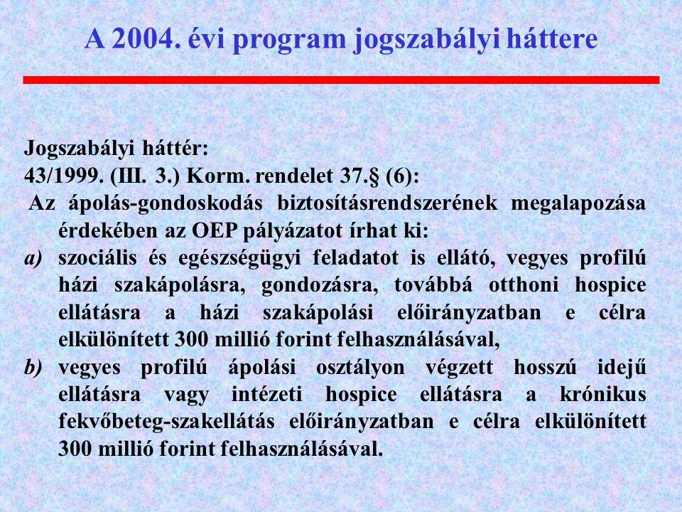 Jogszabályi háttér: 43/1999. (III. 3.) Korm. rendelet 37.§ (6): Az ápolás-gondoskodás biztosításrendszerének megalapozása érdekében az OEP pályázatot