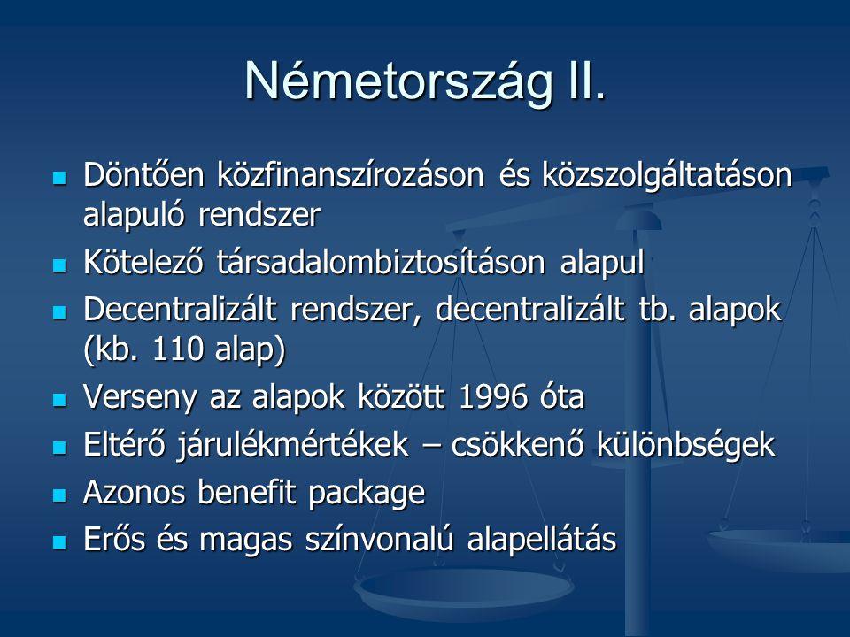 Németország II.  Döntően közfinanszírozáson és közszolgáltatáson alapuló rendszer  Kötelező társadalombiztosításon alapul  Decentralizált rendszer,