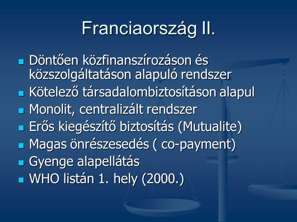 Franciaország II.  Döntően közfinanszírozáson és közszolgáltatáson alapuló rendszer  Kötelező társadalombiztosításon alapul  Monolit, centralizált