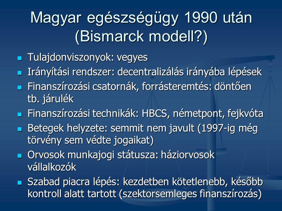 Magyar egészségügy 1990 után (Bismarck modell?)  Tulajdonviszonyok: vegyes  Irányítási rendszer: decentralizálás irányába lépések  Finanszírozási csatornák, forrásteremtés: döntően tb.