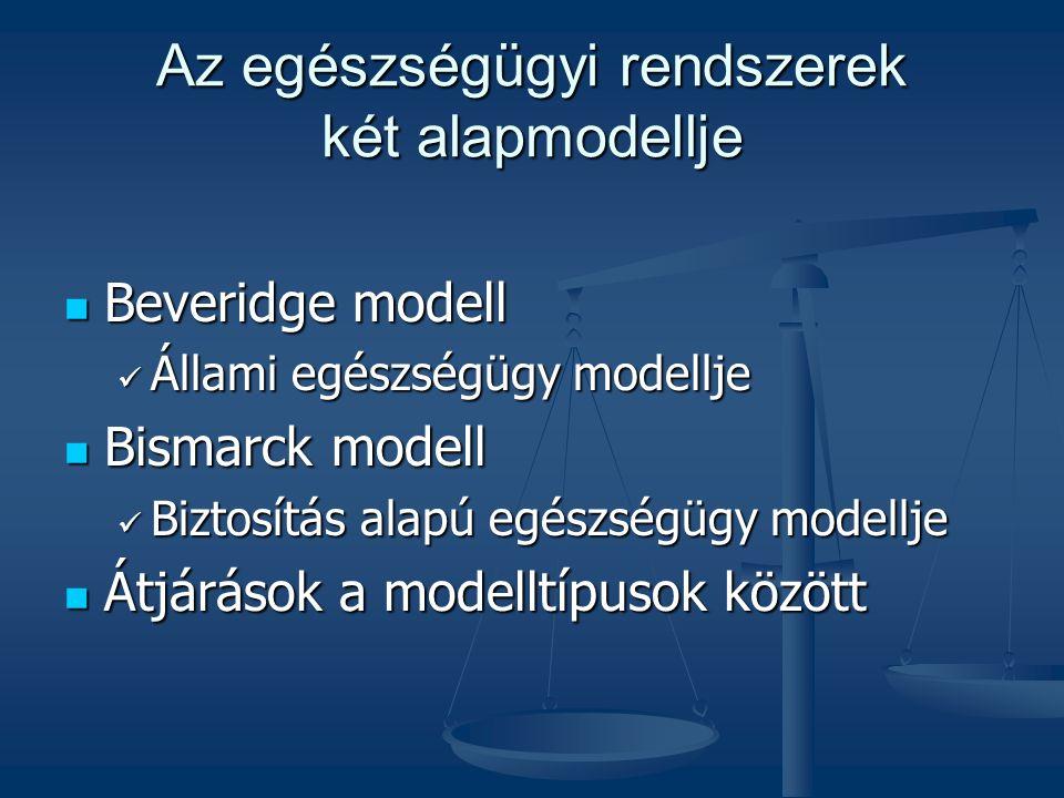 Az egészségügyi rendszerek két alapmodellje  Beveridge modell  Állami egészségügy modellje  Bismarck modell  Biztosítás alapú egészségügy modellje  Átjárások a modelltípusok között