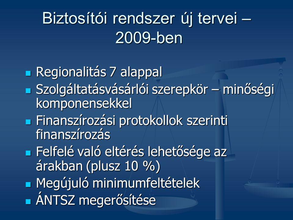 Biztosítói rendszer új tervei – 2009-ben  Regionalitás 7 alappal  Szolgáltatásvásárlói szerepkör – minőségi komponensekkel  Finanszírozási protokol
