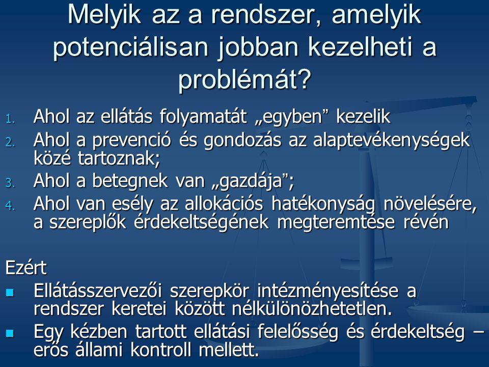 """Melyik az a rendszer, amelyik potenciálisan jobban kezelheti a problémát? 1. Ahol az ellátás folyamatát """"egyben """" kezelik 2. Ahol a prevenció és gondo"""