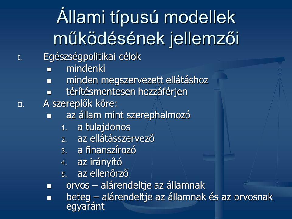 Állami típusú modellek működésének jellemzői I. Egészségpolitikai célok  mindenki  minden megszervezett ellátáshoz  térítésmentesen hozzáférjen II.