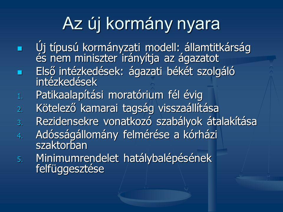Az új kormány nyara  Új típusú kormányzati modell: államtitkárság és nem miniszter irányítja az ágazatot  Első intézkedések: ágazati békét szolgáló
