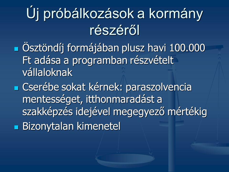 Új próbálkozások a kormány részéről  Ösztöndíj formájában plusz havi 100.000 Ft adása a programban részvételt vállaloknak  Cserébe sokat kérnek: par