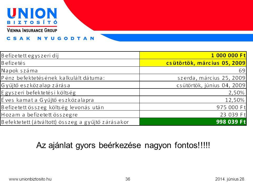 36 www.unionbiztosito.hu 2014. június 28. Az ajánlat gyors beérkezése nagyon fontos!!!!!