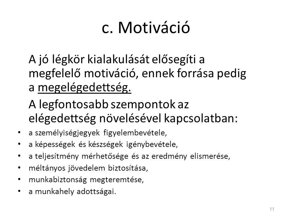 c. Motiváció A jó légkör kialakulását elősegíti a megfelelő motiváció, ennek forrása pedig a megelégedettség. A legfontosabb szempontok az elégedettsé