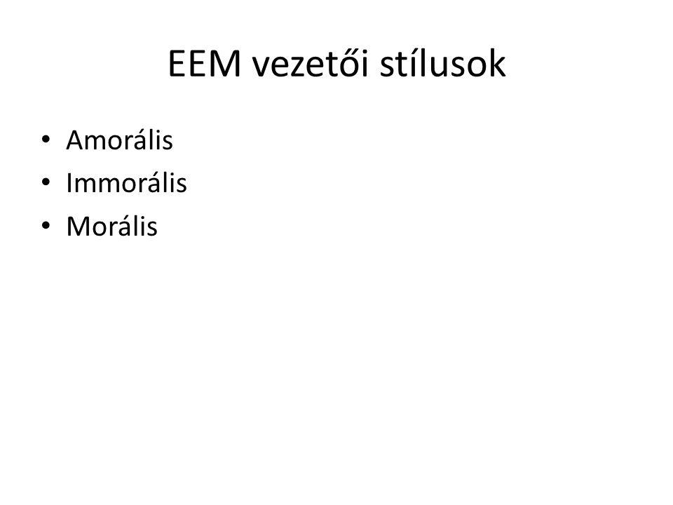 EEM vezetői stílusok • Amorális • Immorális • Morális