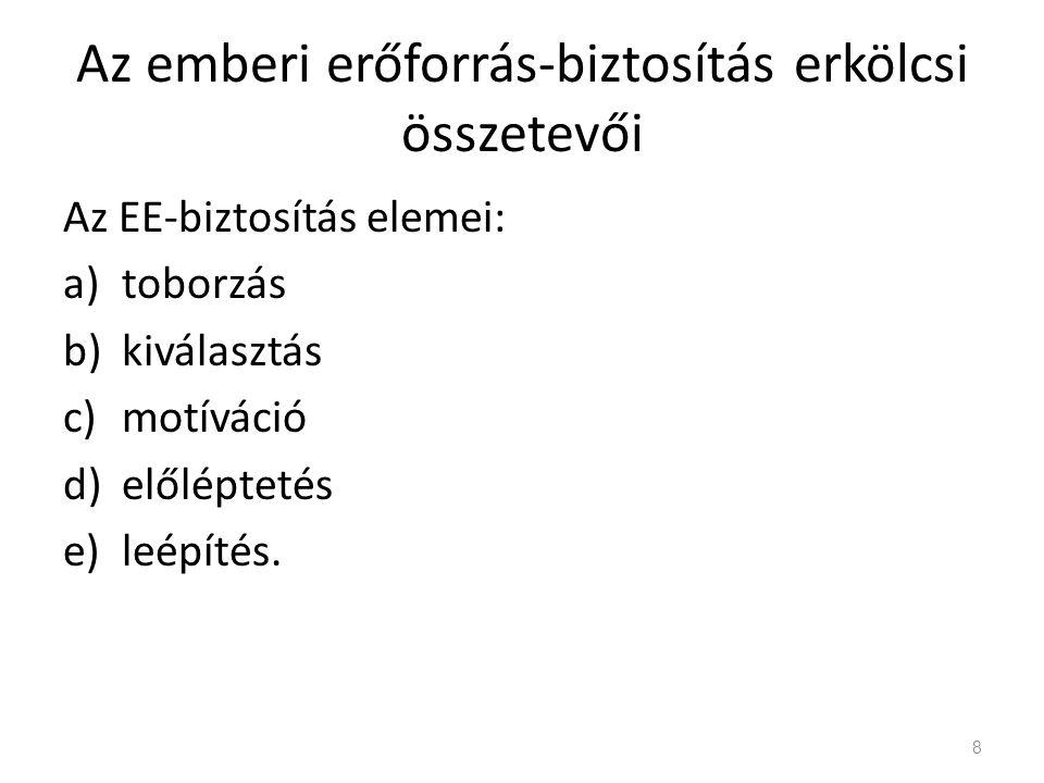Az emberi erőforrás-biztosítás erkölcsi összetevői Az EE-biztosítás elemei: a)toborzás b)kiválasztás c)motíváció d)előléptetés e)leépítés.