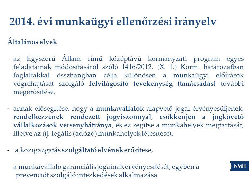 2014. évi munkaügyi ellenőrzési irányelv Általános elvek - az Egyszerű Állam című középtávú kormányzati program egyes feladatainak módosításáról szóló
