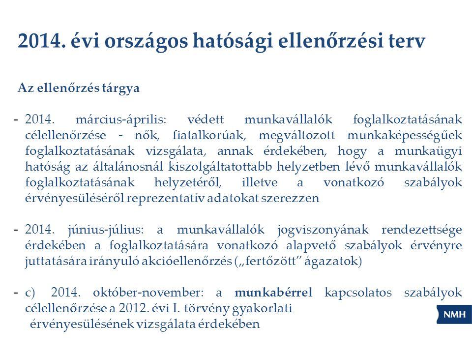 2014.évi országos hatósági ellenőrzési terv Az ellenőrzés tárgya - 2014.