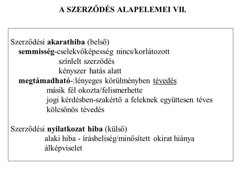 A SZERZŐDÉS ALAPELEMEI VII.