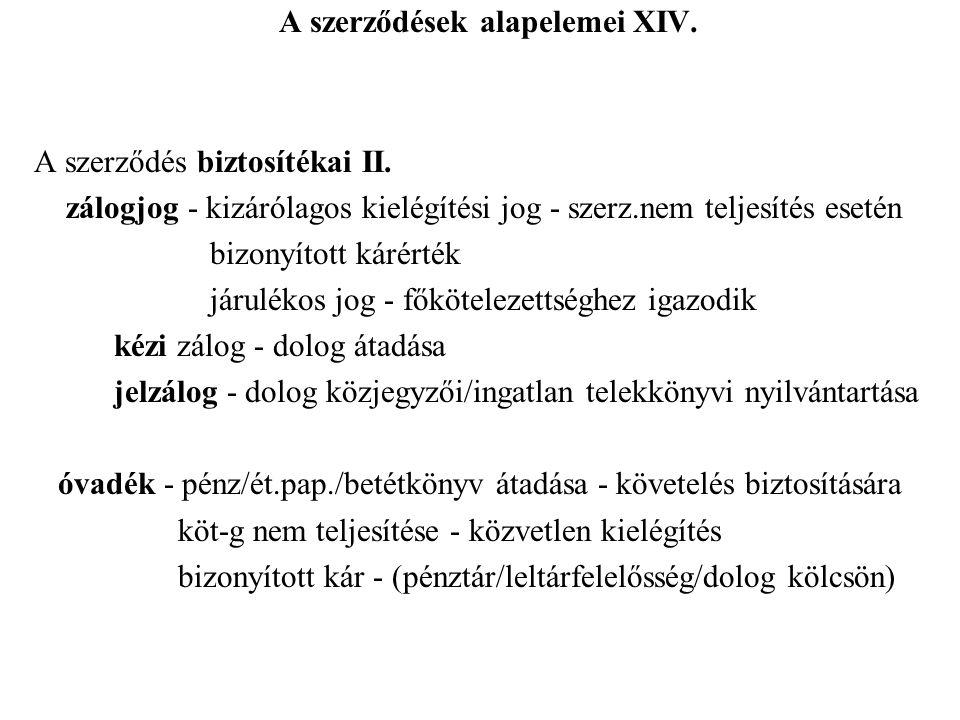 A szerződések alapelemei XIV.A szerződés biztosítékai II.