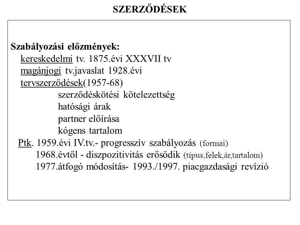 A szerződések alapelemei IX.