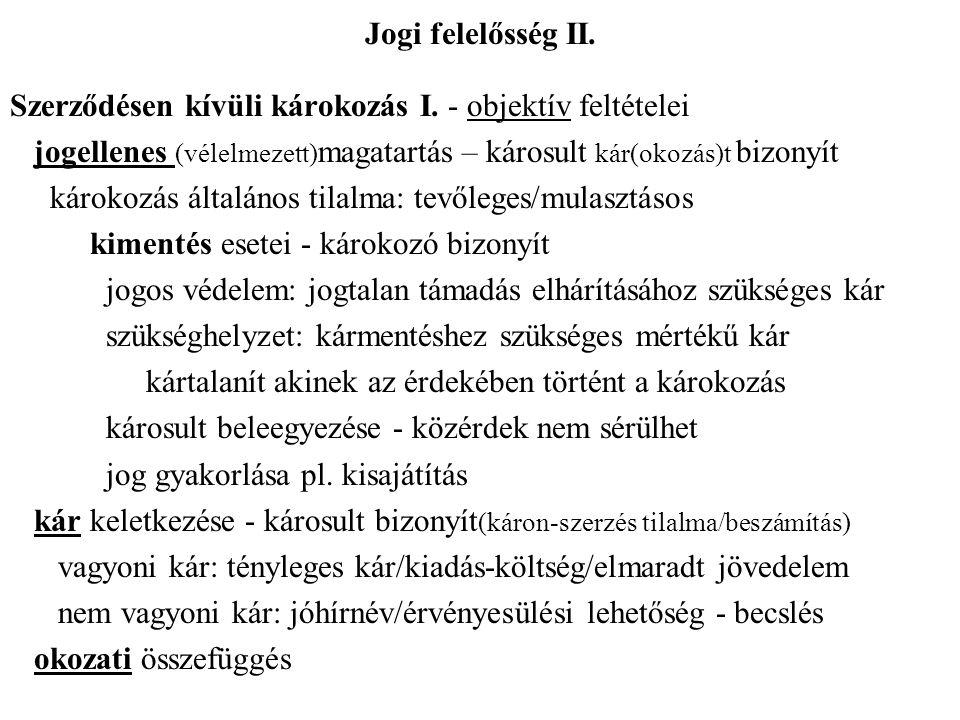 Jogi felelősség II.Szerződésen kívüli károkozás I.
