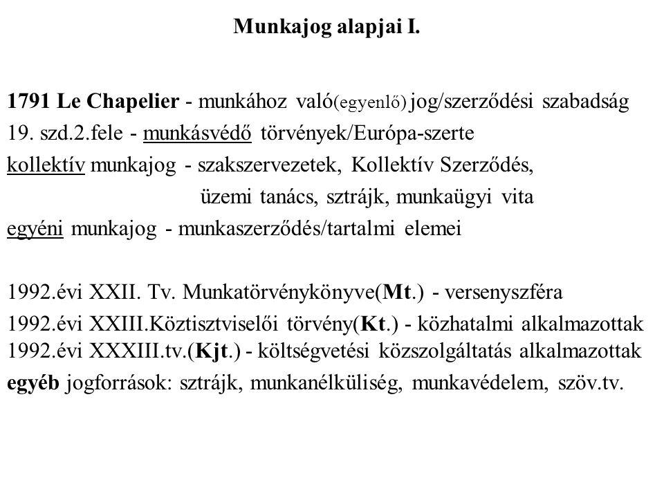 Munkajog alapjai I.1791 Le Chapelier - munkához való (egyenlő) jog/szerződési szabadság 19.